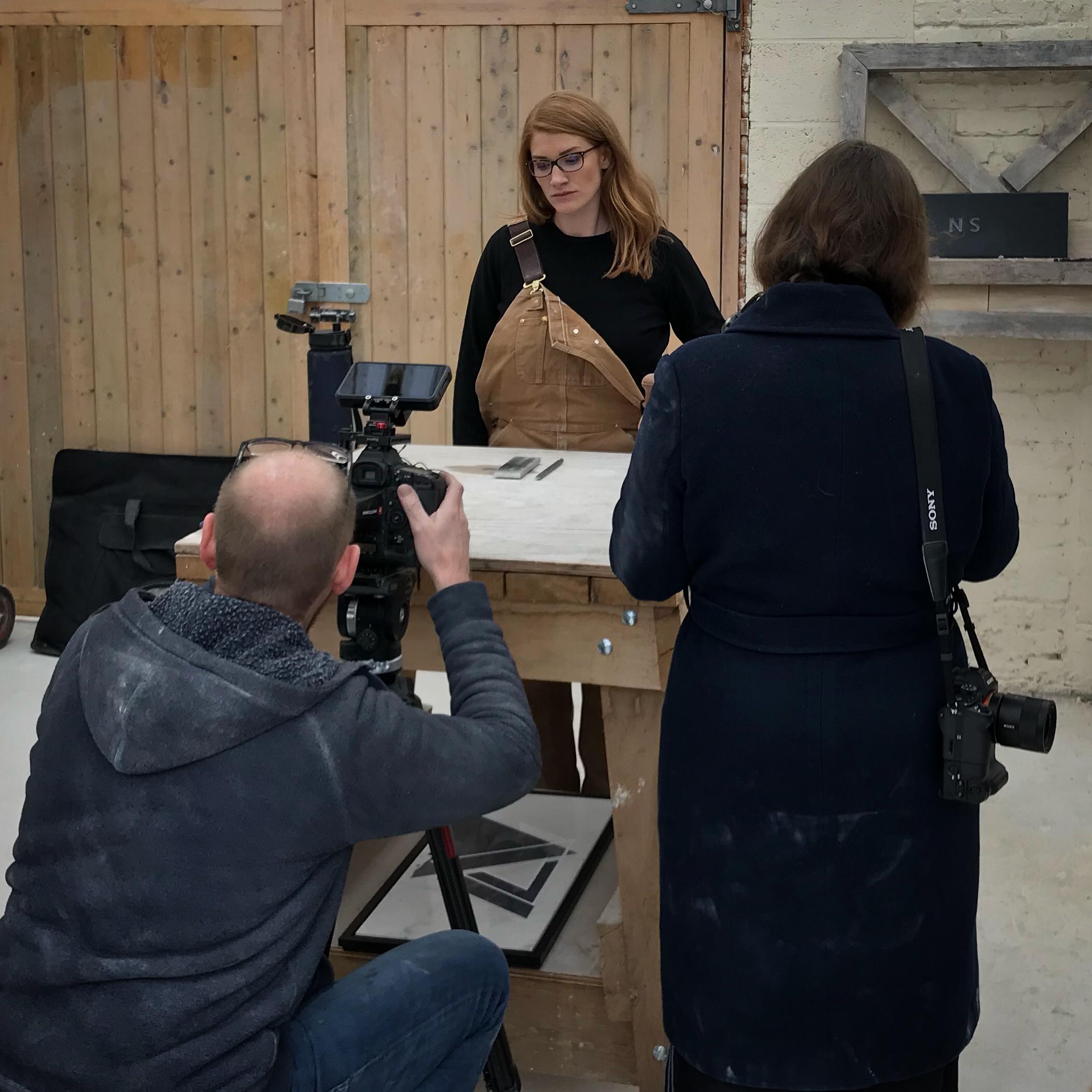 Zoe Wilson Being filmed by the John Smedley Crew