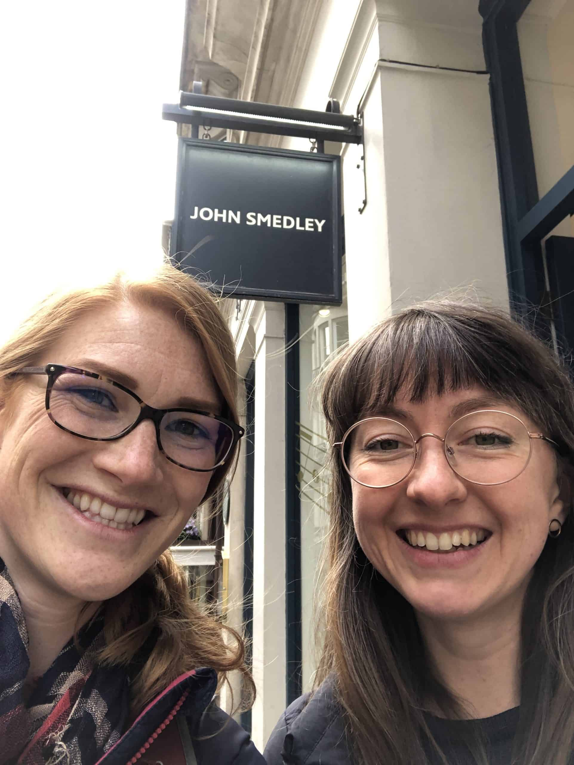 Zoe Wilson and Alice Walton standing outside the John Smedley store