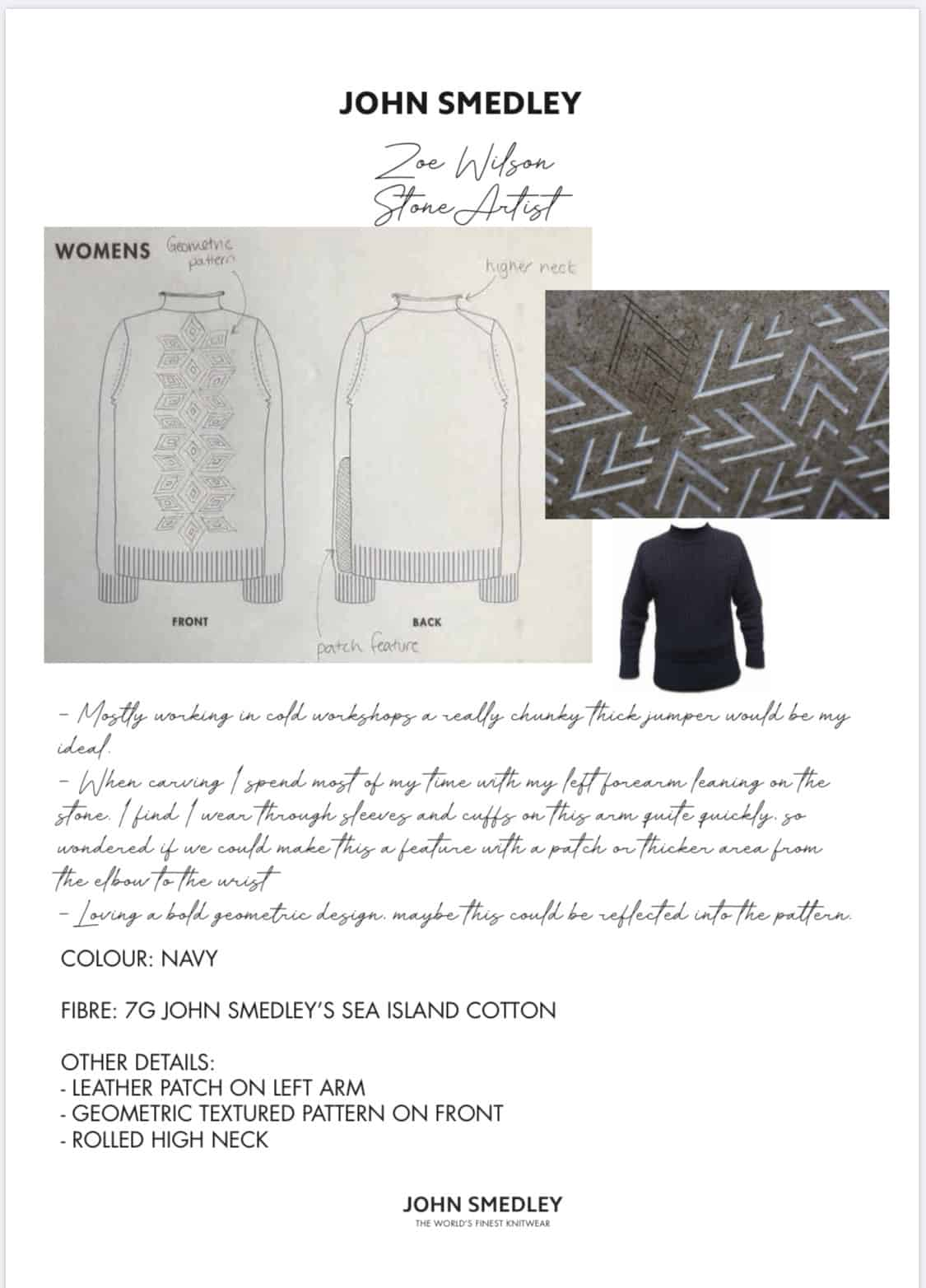 Drawings of the garment idea for John Smedley