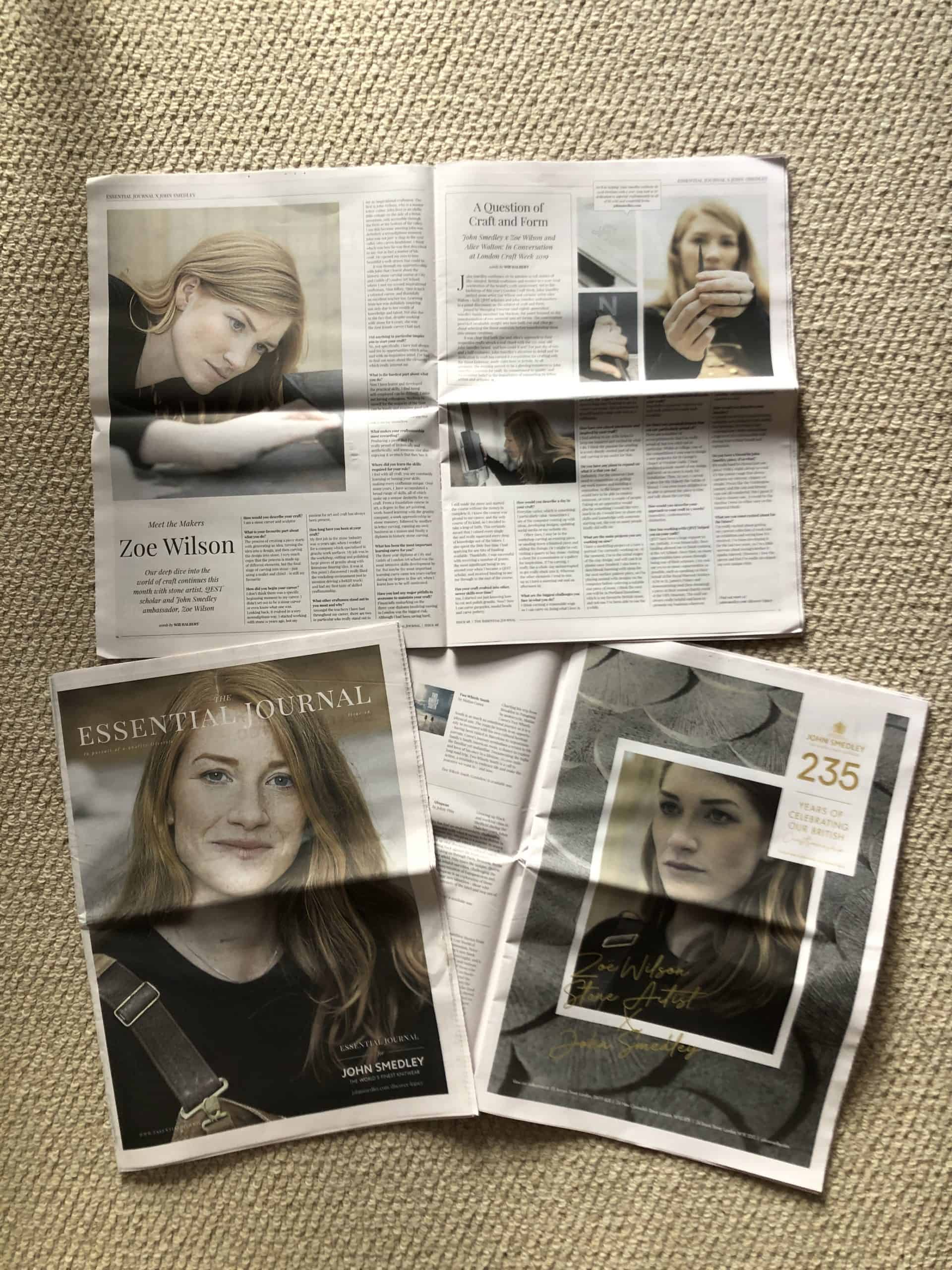 Zoe Wilson on the front cover of the Essential Magazine