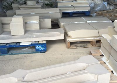 Lots of pallets of stone ready for fitting