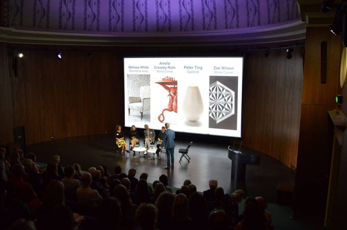 Zoe Wilson speaking at the V&A