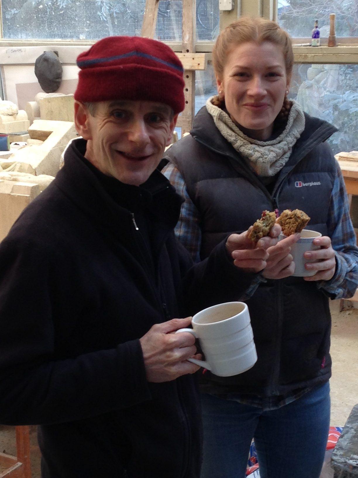 Zoe Wilson drinking tea with John Neilson
