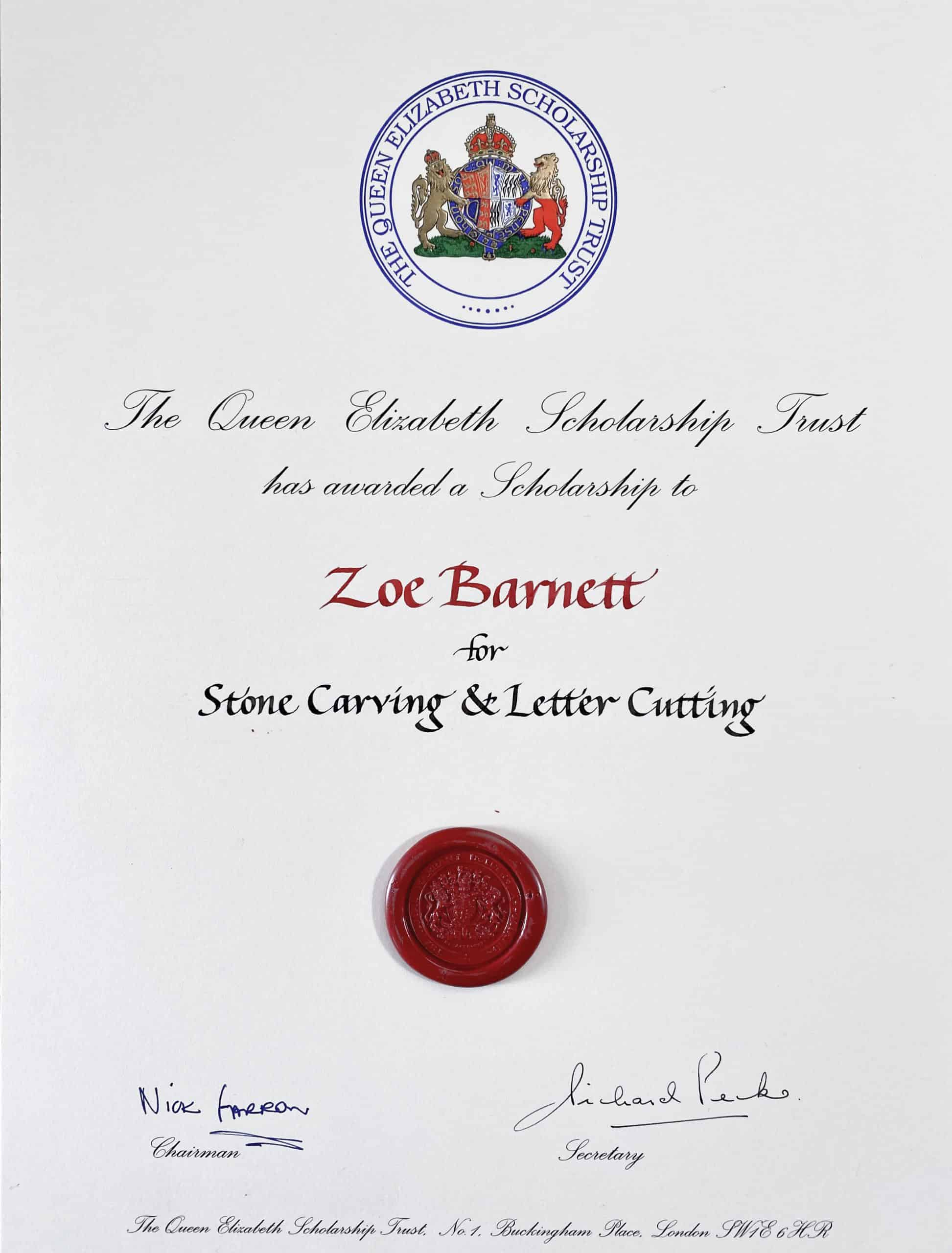 Certificated from the Queen Elizabeth Scholarship Trust awarding Zoe Barnett a scholarship