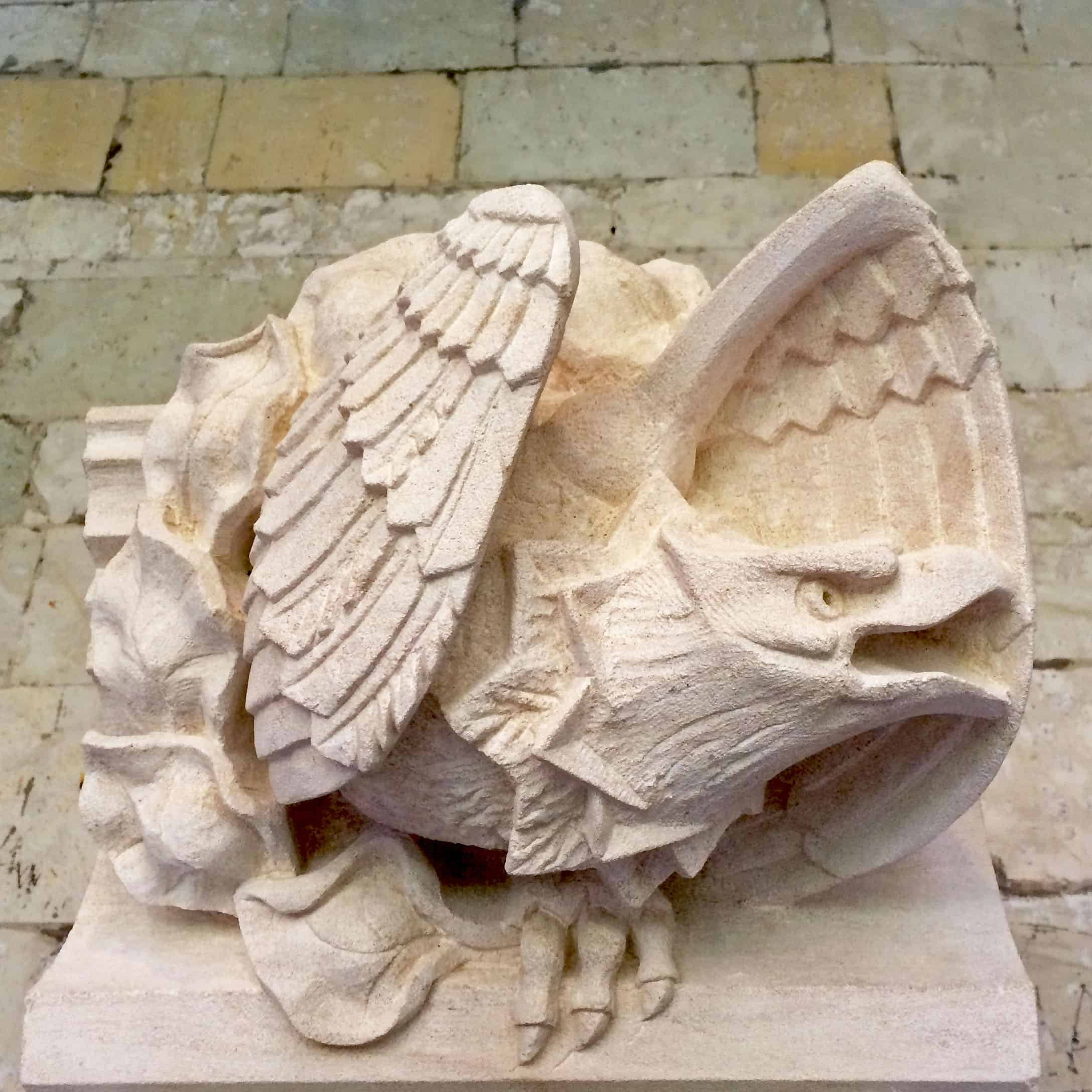 Gargoyle of an Eagle protecting her nest, for St Georges Chapel, Windsor
