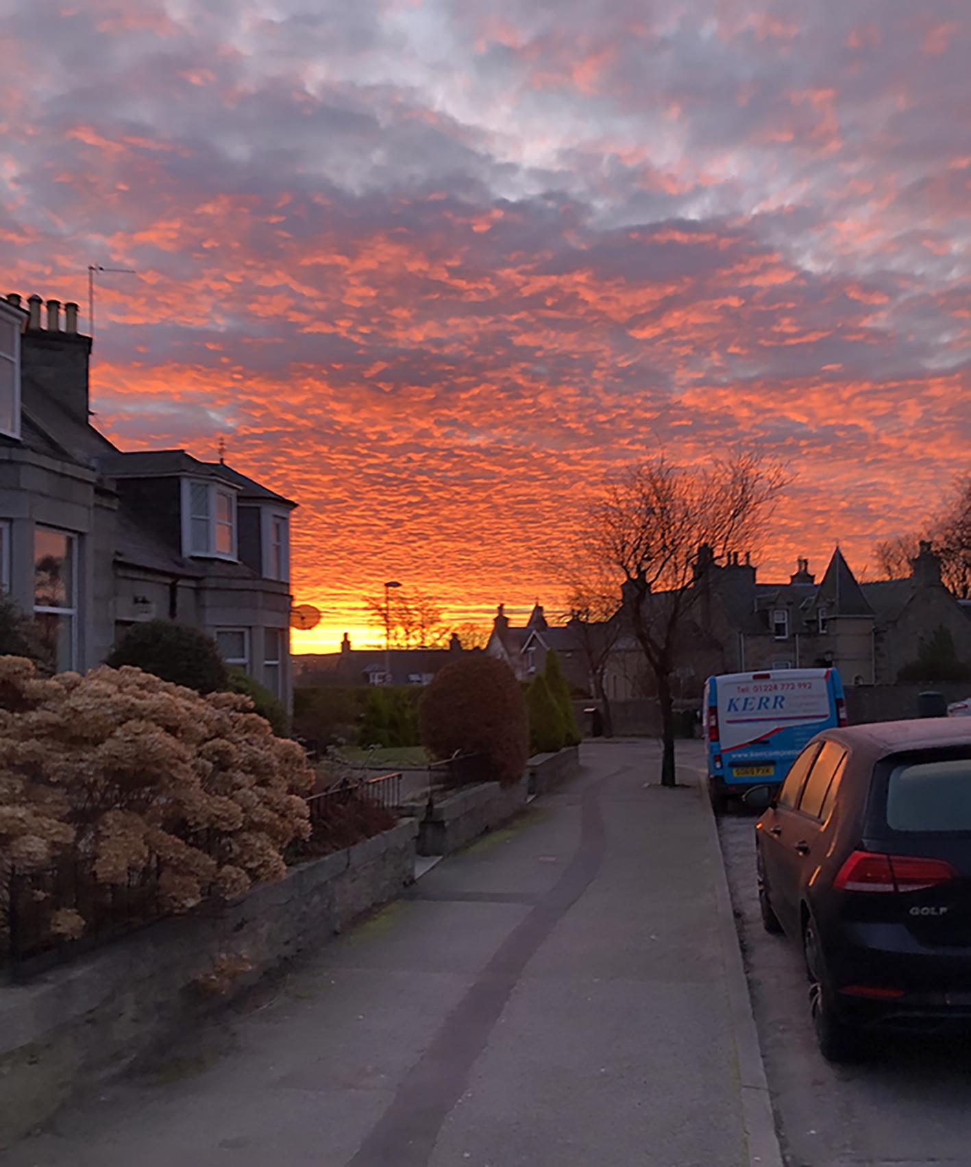Sunset looking down Zoë's street in Aberdeen